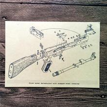 "New arrival wholesales vintage kraft paper ""kalashnikov model""wall art poster pictures home decor for bathroom bar cafe FW-011"