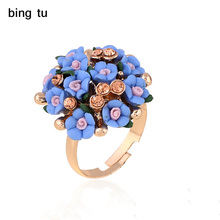 Bing Tu Summer Big Resin Flower Rings For Women Fashion Open Gold Color Blue Purple Finger Ring Bride Delicate Jewelry anel(China)