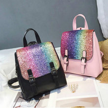 Fashion Women Backpack Colorful Sequins small Schoolbag For Teenager Girls  Soft Handle Back High Quality Female e42c5003d2