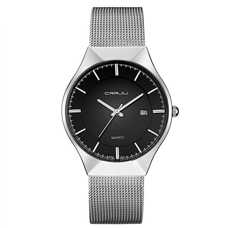 Ultra-Thin Dial Business Men Quartz Watch With Alloy Mesh Band Black and White Dial With Date Display Mens Luxury Wrist Watches<br>