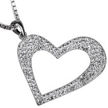 925 sterling silver heart necklace pendant W chain crystal fashion jewelry valentine day gift for her women girlfriend dropship(China)