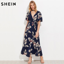 SHEIN Flutter Sleeve Surplice Wrap Dress Casual A Line Summer Maxi Dress Navy Half Sleeve V Neck Floral Maxi Dress