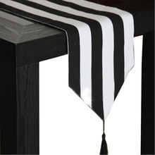 European style black and white striped table runner table cloth  Table Topper hotel bed runner Home Decor table cloth tassel