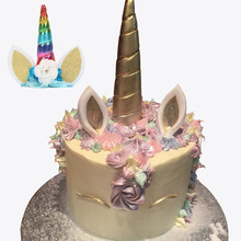 14cm Gold Silver Unicorn Horns Cake Topper Kids Birthday Cake Decoration Halloween Birthday Party Event Supplies(China)