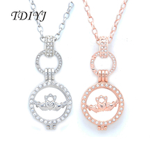 TDIYJ Fashion Silver/Rose Gold 25MM Alloy Crystal Claddagh Coin Disc Frame Pendant Necklace for Women's Gifts 1Set(China)