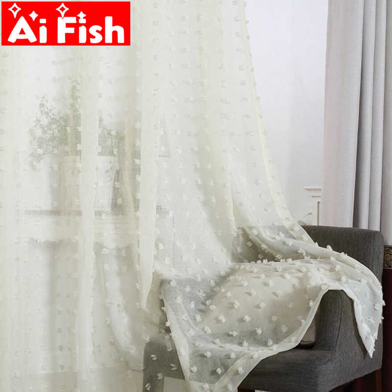 White Lace 3D Plush Point Window Curtains For Living Room Bedroom Bay Window Custom Panel Valances For Kitchen Tulle  MY030-30