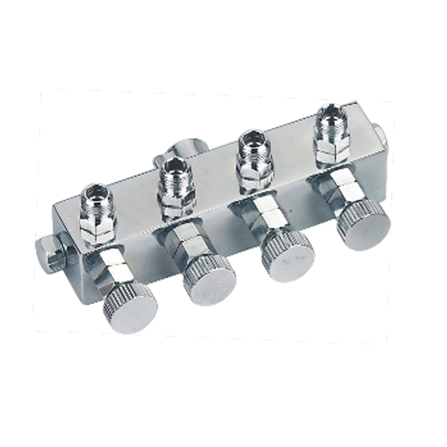 4 WAY AIRBRUSH AIR HOSE SPLITTER MANIFOLD-Compressor and Regulated Metering Manifold/ ONE COMPRESSOR CONNECT WITH 4 AIR BRUSHES<br>