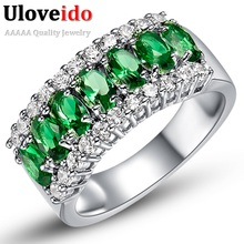 Uloveido Valentine's Day Gift Womens Silver Plated Red Wedding Large Colored Ring Red Green Zircon Sets Ringen Jewelry 2017 J501(China)