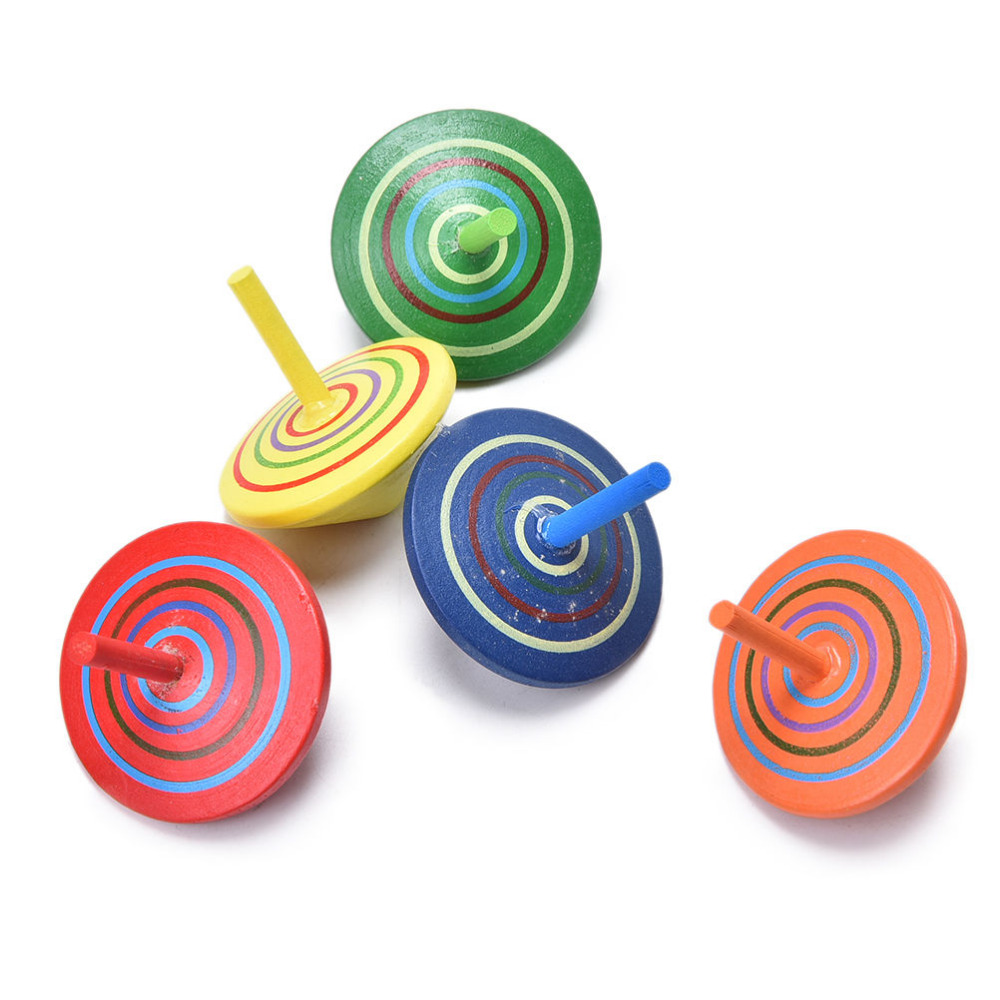 Wood Spinning Top Gyro Classic Mini Cartoon Wooden Toy Learning Educational Toys for Kids Kindergarten Multicolor