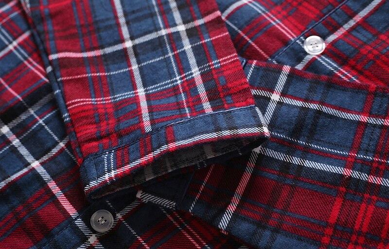 Fashion sexy Plaid 100% cotton male pajamas sets mens casual sleep Clothing simple sleepwear pyjamas pijama de hombre homewear 7