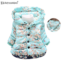 KEAIYOUHUO 2017 Jackets For Girls Winter Warm Fashion Coats Children Clothes Long Sleeve Cotton Hooded Down Jacket Kids Clothing