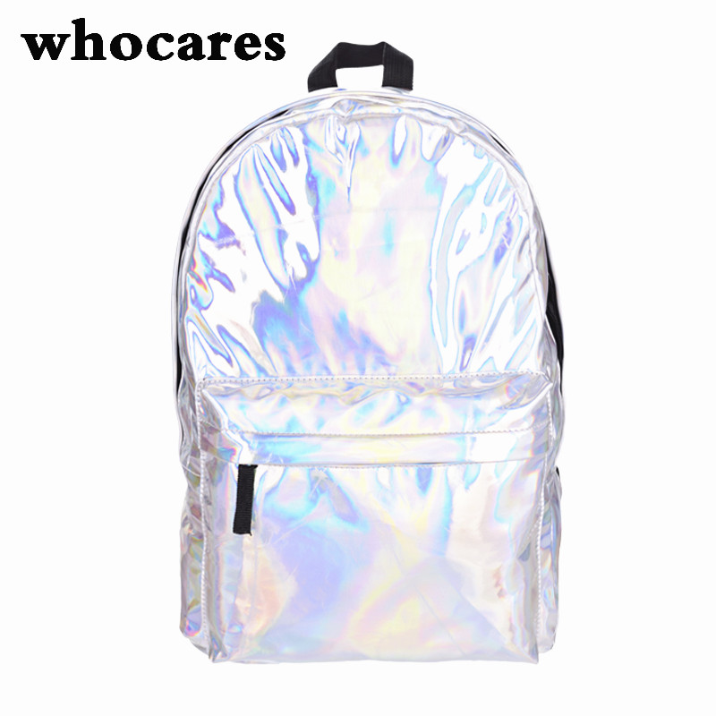 Leather quality laptop backpack women Hologram Backpack For School Student Womens Laser Silver Color Holographic Bag backpacks<br><br>Aliexpress