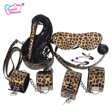 Buy Sweet Dream 7pcs/Lot BDSM Bondage Set Leopard Handcuffs Whip Flirt Sex Toys Slave Adult Sex Game Couple Sex Products BLM-152