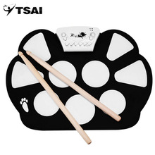 TSAI Drum Pad Kit Portable 9 Pads Electronic Digital USB Roll up Foldable Silicone With Drum Sticks Foot Pedals(China)