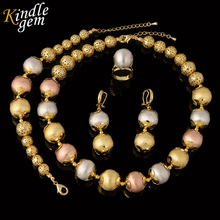 New Statement Necklace Earrings Bracelet Set For Women High Quality Italy 925 Gold Color Jewelry Choker Three Color Beads