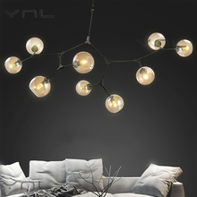 Modern Glass Ball Branching Bubble Pendant Chandeliers For Dining Room Living Room Chandelier Lighting Lustre E27 Led Lamp(China)