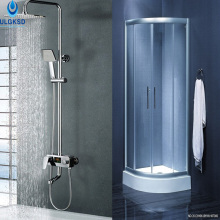 "ULGKSD Chrome Bathroom Shower Faucet with Exposed 8"" Bath Shower Head Water Powered Temperature Digital Display Mixers Rain Tub(China)"