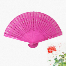 Beauty Home Decoration 20cm Crafts Bamboo Wooden Fan Folding Hollow Carved Hand Fan Flower Wedding Bridal Party Gift Fragrant