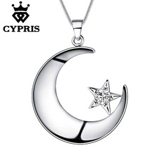 11.11 Super Deal Meaningful  Lose money Love Romance silver Fashion Moon Star Religion stone Crystal Pendant Necklace 18inch 925