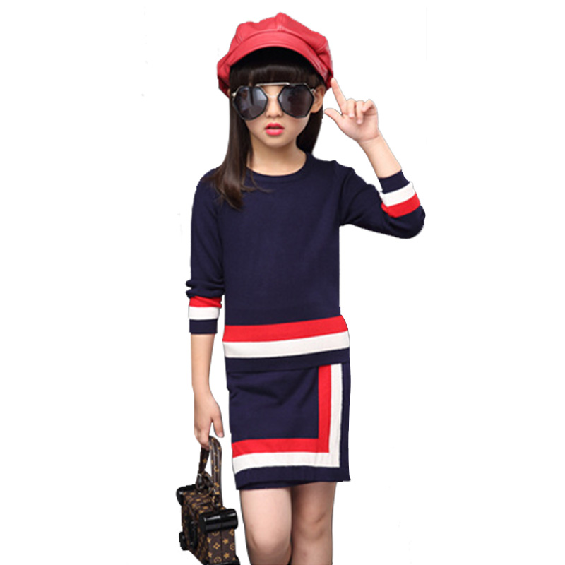 Autumn Girls Clothing Sets Novelty Vetement Fille Knitted Poullover Spell Color Elegant Children Sweater Skirt Suit<br><br>Aliexpress