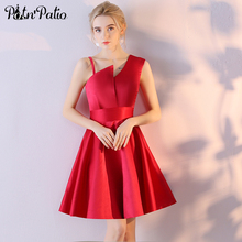 PotN'Patio One Shoulder Bridesmaid Dresses Short Red Satin Simple A-line Knee Length Junior Wedding Party Dresses