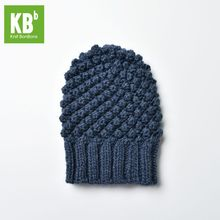 2017 KBB Spring fall Winter Comfy Deep Blue Croquet Pattern Designer Yarn Knit Warm Winter Hat Beanie for Women Men(China)