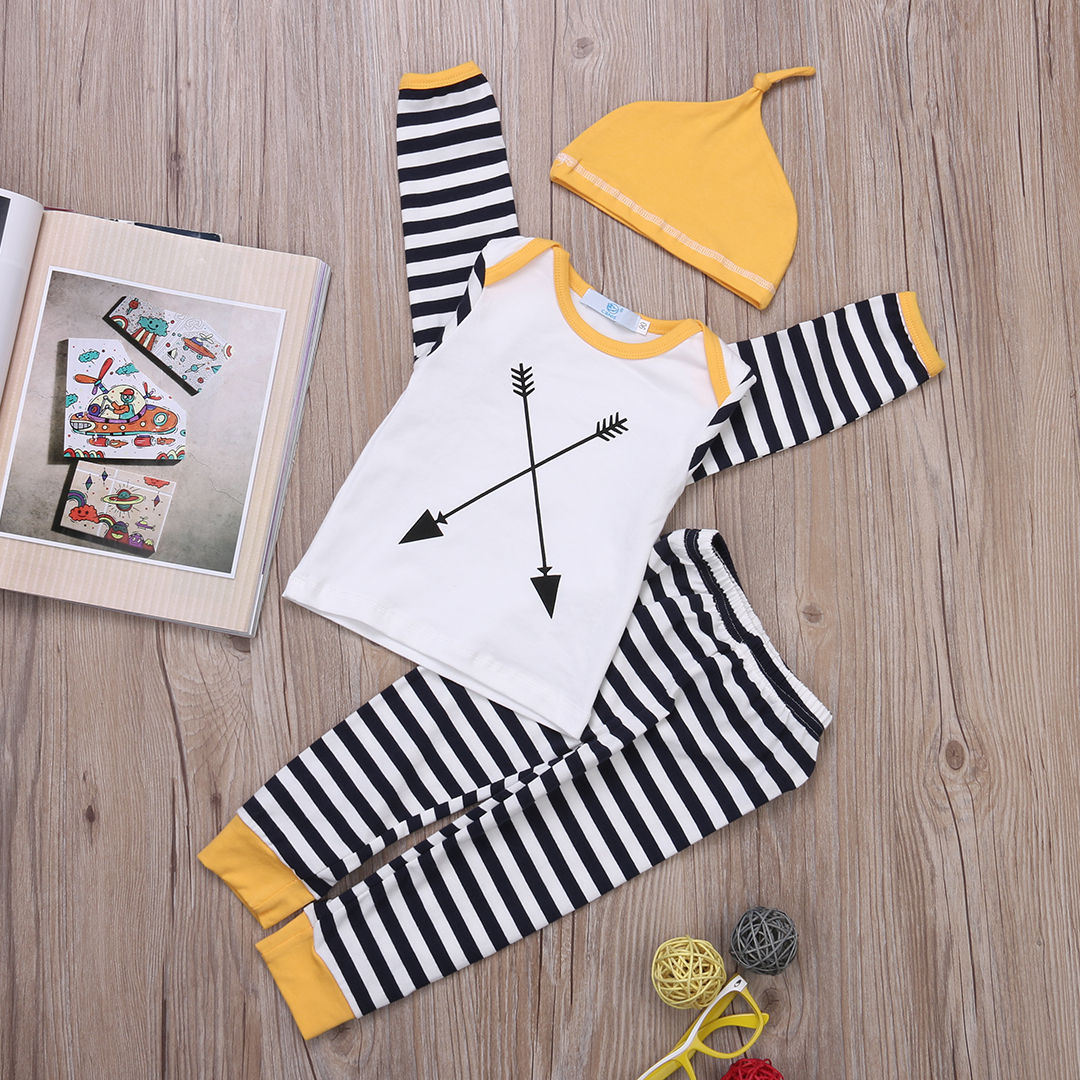 Tops + Pants Hat 3pcs Autumn Baby Boys Girl Clothing Outfits Set Newborn Baby Girl Boy Clothes Sets Long Sleeve Striped<br><br>Aliexpress
