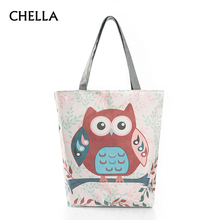 Women Owl Casual Tote Daily Use Female Handbags Shoulder Bag Canvas Simple Beach Bags Designer Ladies Shopping Bag Bolsa SS0334(China)