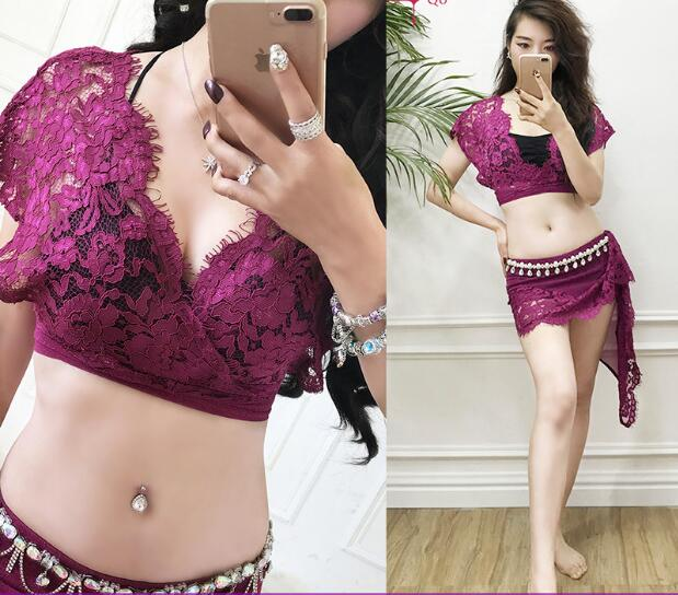 2018 New Lace Bellydance Costume set Hot Sale Women Belly Dance Suits top&Skirt for belly dance wear M, L