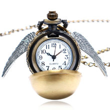 Hot Movie Golden Ball with Wings Theme Fob Pocket Watch With Necklace Chain Gift To Boys Girls(China)