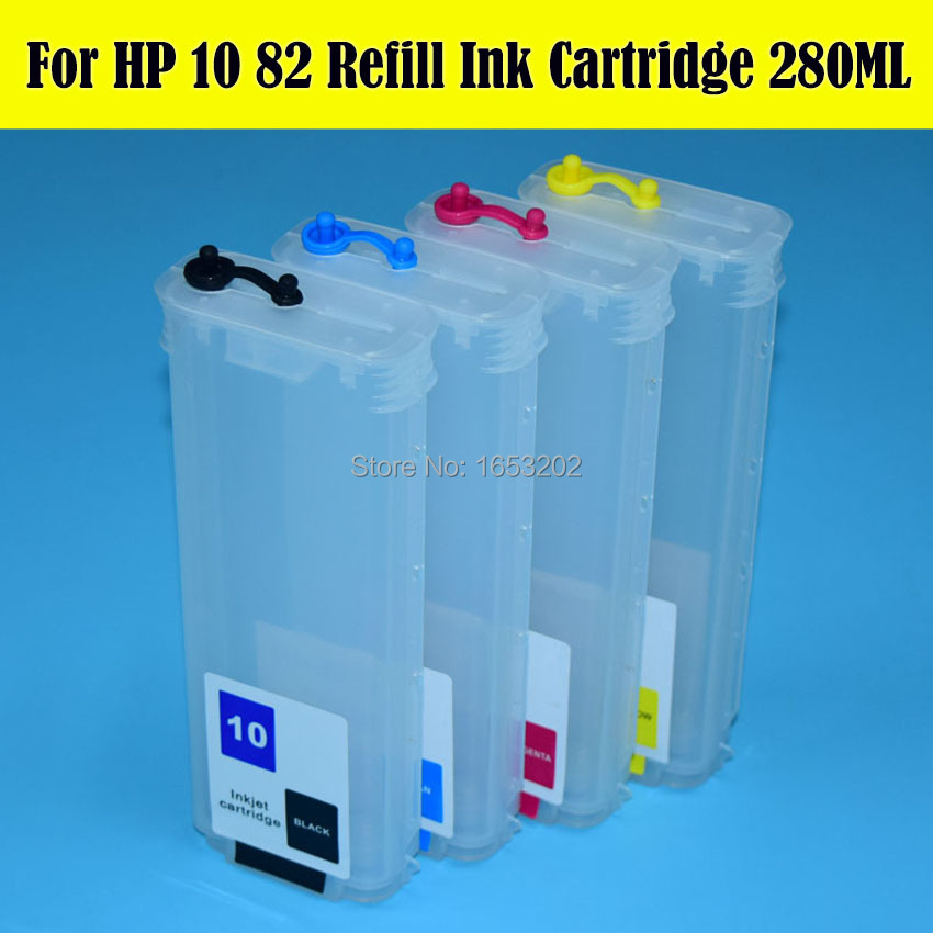 Large Format 280ML For HP 10 82 Ink Cartridge For HP 500 800 500ps 800ps 815 Printer With For HP10 82 Permanent Chip<br><br>Aliexpress