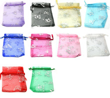 wholesale100pcs 7x9cm 10color mix chinese Christmas Wedding gift bag Organza Bags Jewlery packing Gift Pouches