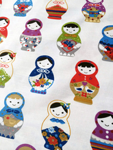 1 meter Lovely Russian Dolls Printed 100% Slub Cotton Canvas Fabric for Curtain Cushion Covers Sofa Bags N1120-1