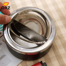 ORZ Portable Round Shape Stainless Steel Lid Windproof Smokeless Ashtrays Rotation Cigarette Ash Tray Smoking Accessories(China)