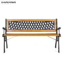 "iKayaa UK Stock 50"" Cast Iron Wood Outdoor Park Garden Bench Deck Porch Backyard Lawn Shop Seat Chair with EN581 Testing"