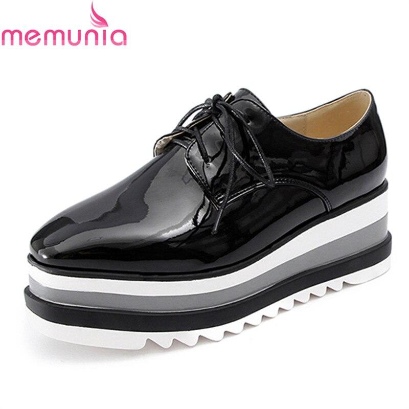 MEMUNIA  wedges platform shoes spring autumn pu round toe hot sale fashion leisure black white lace up big size women shoes<br>