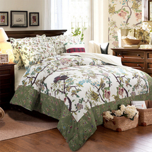 Cotton quilt bedding set king queen twin  boho birds green comforter duvet cover 3/4 pc oil printed bedspread bed linen