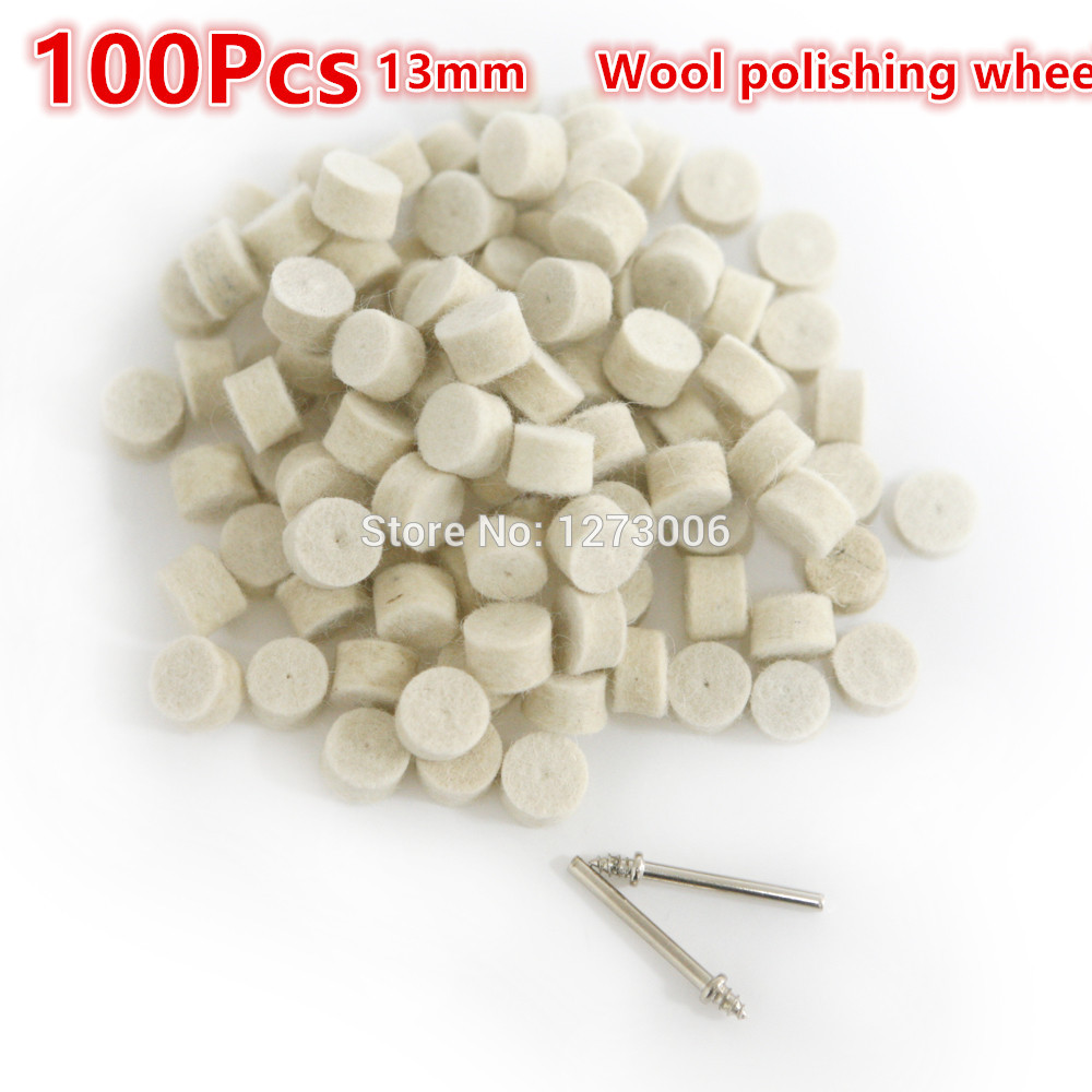 High Quality 100Pcs 13mm Wool Polishing Grinding Buffing Round Wheel+2Pcs 3.2 mm Shank For Dremel Rotary Tool Car-styling HOT(China (Mainland))