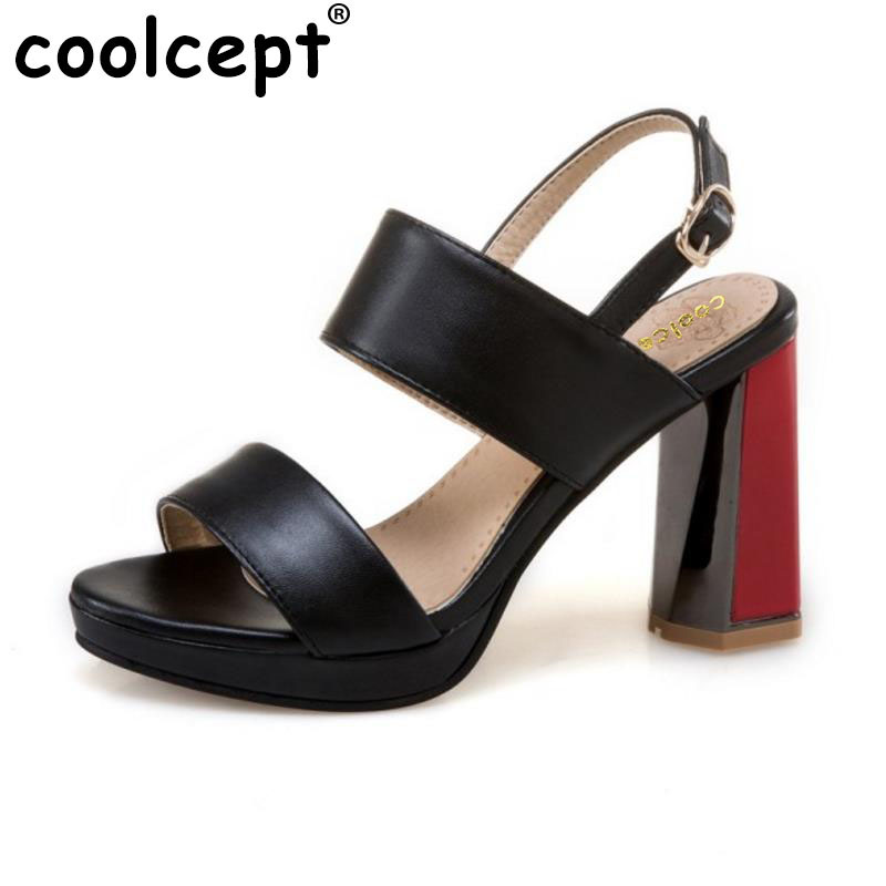 Coolcept Size 34-43 Sexy Women High Heel Sandals Ankle Strap Open Toe Metal Thick Heels Shoes Women Party Club Ladies Footwear<br>