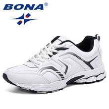 b207d3e2a BONA/дышащие кроссовки, мужская повседневная обувь, chaussure homme, модные  кроссовки, мужская обувь на плоской подошве, на шнур.