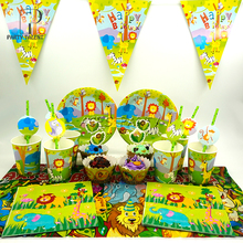 Para 12 niños 74 Unids Jungle Safari Animales tema cumpleaños party supplie set vajilla, placa + paja + vidrio + Mantel + bandera ect.