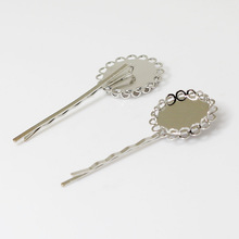 Blank Bobby Pins Bases Settings with Round Double Lace Bezel pads Glass Cabochon Hairpins Hair Clips Crafts Findings Silver tone