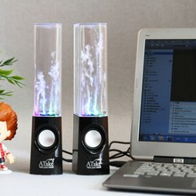 2017 Hot Led Light Dancing Water Speakers Fountain Music For Desktop Laptop Computer PC USB Stereo Speakers  For Tablet Phone