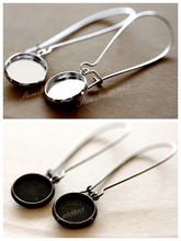 12mm 16mm Round Earring Hooks Silver Antique Bronze finish base Brass tray earring  Ear Wires- Cabochon Setting  (EAR-70)