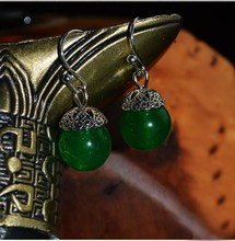 Tibetan silver earrings ,New Ethnic jewelry chalcedony stone earrings handmade original dangle earrings green(China)