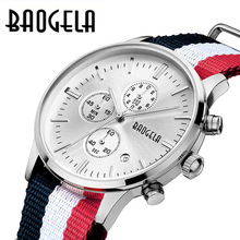 nylon Canvas men's wristwatches man casual waterproof calendar watches Multi-function original BAOGELA luxury brand NO.1611(China)
