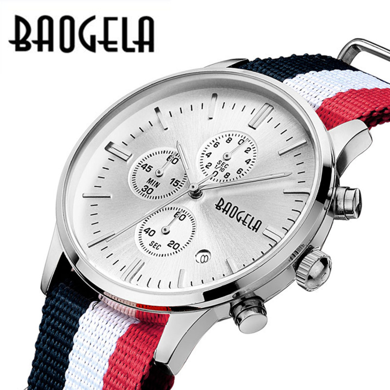 nylon Canvas mens wristwatches man casual waterproof calendar watches Multi-function original BAOGELA luxury brand NO.1611<br>