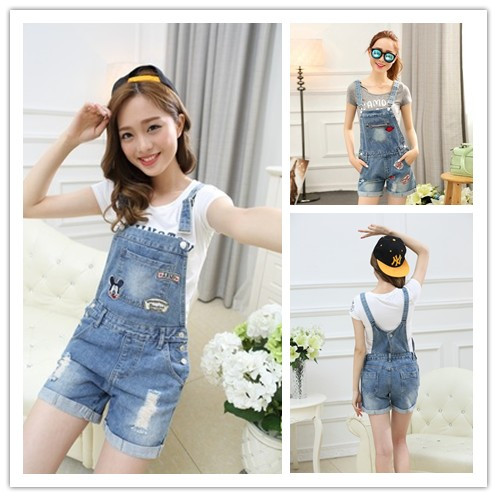 2017 plus size mouse summer lady loose ripped denim overalls casual denim shorts pants suspenders Jumpsuits Rompers women jeansОдежда и ак�е��уары<br><br><br>Aliexpress