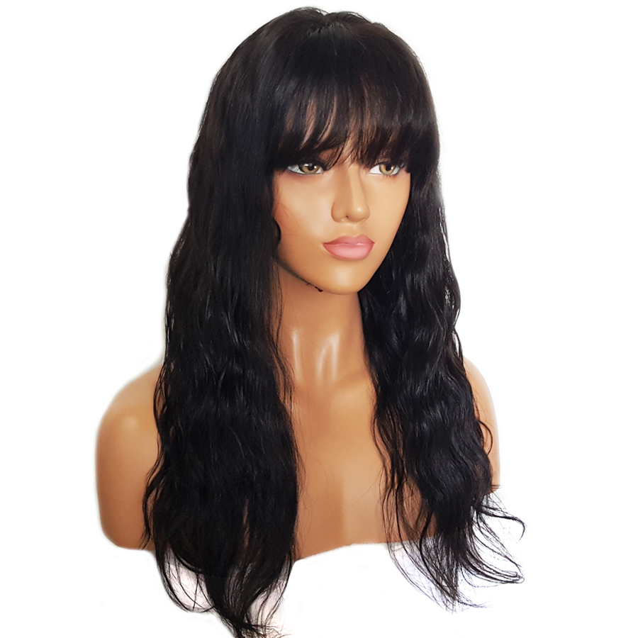 BEEOS 150% Glueless Lace Front Human Hair Wigs With Bangs Remy Hair Wavy Brazilian Wig With Baby Hair Bleached Knots 12-24 Inch (1)