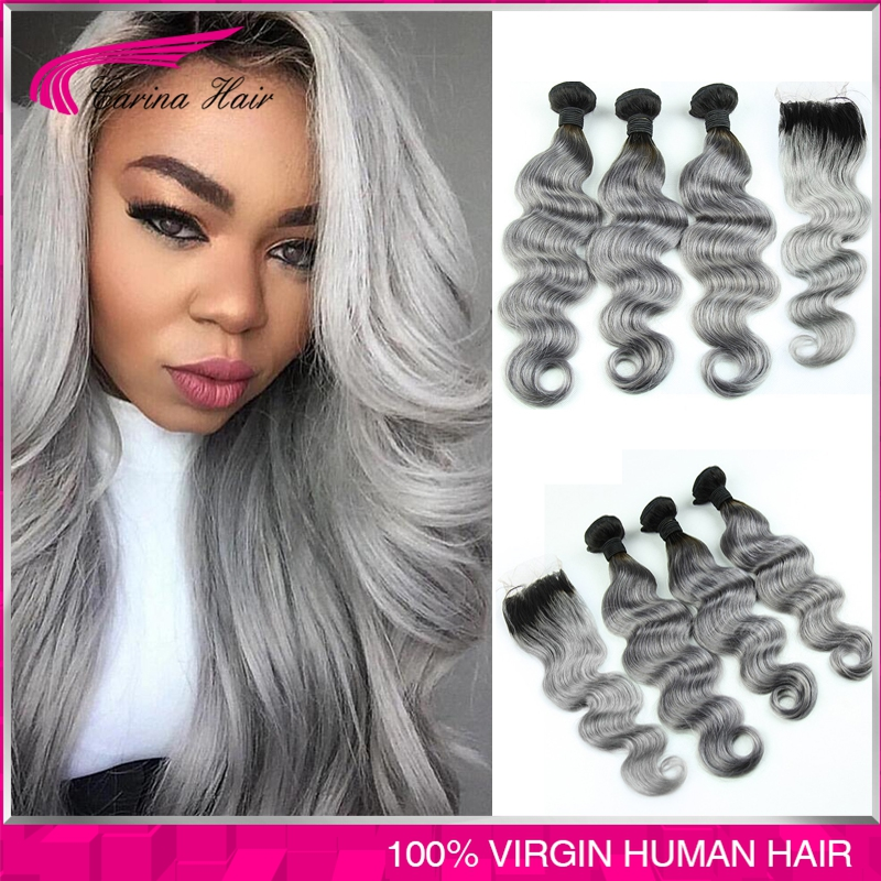 8A Silver Grey Ombre Human Hair Extensions ombre gray Brazilian virgin hair Body Wave ombre dark grey hair weave with closure<br><br>Aliexpress